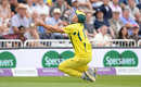 Marcus Stoinis couldn't quite hold a catch running back from mid-off, England v Australia, 3rd ODI, Trent Bridge, June 19, 2018