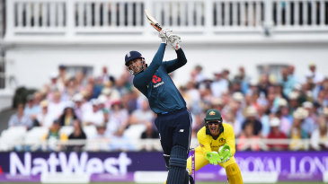 Alex Hales hits high down the ground