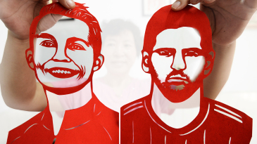 Paper-cuttings of football stars Cristiano Ronaldo and Lionel Messi