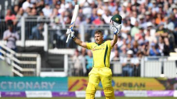 Aaron Finch made his sixth ODI hundred against England