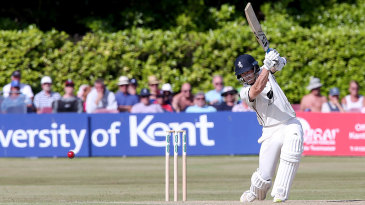 Joe Denly drives during his hundred