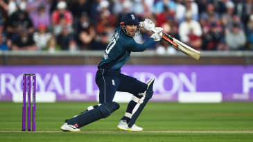 Alex Hales drives through the covers