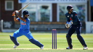 Rishabh Pant goes after the England Lions bowlers