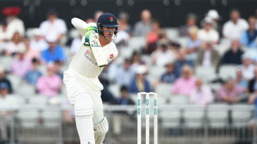 Keaton Jennings drives through the covers