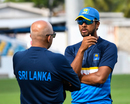 Dinesh Chandimal has a chat with head coach Chandika Hathurusingha, West Indies v Sri Lanka, 3rd Test, Barbados, June 22, 2018