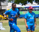 Jason Holder takes part in a training session with Stuart Law by his side, West Indies v Sri Lanka, 3rd Test, Barbados, June 22, 2018