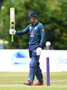 Tom Kohler-Cadmore acknowledges his fifty, England Lions v West Indies A, Tri-series, Derby, June 23, 2018