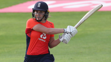 Nat Sciver muscles a shot during her half-century