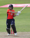 Nat Sciver muscles a shot during her half-century, England v New Zealand, women's T20 tri-series, Taunton, June 23, 2018