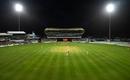 Three slips, gully, and floodlights surround the batsman at the Kensington Oval, West Indies v Sri Lanka, 3rd Test, Bridgetown, 1st day, June 23, 2018