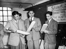 CS Nayudu, Shute Banerjee and Chandu Sarwate examine bats during a visit to Stuart Surridge's bat factory, 1946