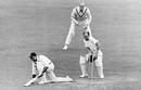 Wicketkeepr Paul Gibb watches the bails being dislodged after Lala Amarnath is bowled by Frank Smailes, England v India, 1st Test, 3rd day, June 25, 1946