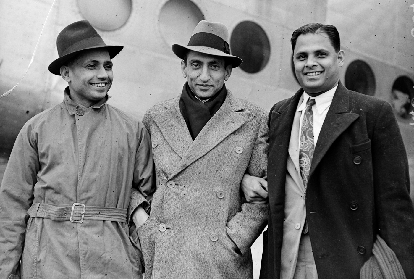 Lala Amarnath, Nawab of Pataudi snr and Shute Banerjee arrive in England for the 1946 India tour