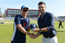 Sam Curran was handed his ODI cap by James Anderson, England v Australia, 5th ODI, Old Trafford, June 24, 2018