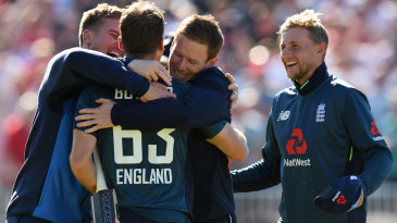 Jos Buttler is engulfed after his unbeaten 110 sealed victory