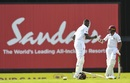 Jason Holder and Shane Dowrich punch gloves during their century stand. West Indies v Sri Lanka, 3rd Test, Bridgetown, 2nd day, June 24, 2018