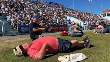 Spectators soak up the sun at Scarborough