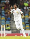 Kasun Rajitha exults after taking a wicket, West Indies v Sri Lanka, 3rd Test, Barbados, 3rd day, June 25, 2018