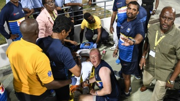 Kusal Perera was taken off the field after suffering an injury