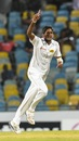 Kasun Rajitha celebrates a wicket. West Indies v Sri Lanka, 3rd Test, Bridgetown, 3rd day, June 25, 2018