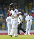 Roshen Silva walks back. West Indies v Sri Lanka, 3rd Test, Bridgetown, 3rd day, June 25, 2018