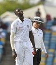 Jason Holder has a lighter moment on the field. West Indies v Sri Lanka, 3rd Test, Bridgetown, 3rd day, June 25, 2018