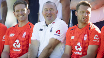 Stand-in coach Paul Farbrace is flanked by Eoin Morgan and Jos Buttler