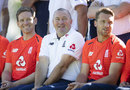 Stand-in coach Paul Farbrace is flanked by Eoin Morgan and Jos Buttler, Edgbaston, June 26, 2018