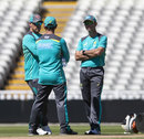 Aaron Finch, Justin Langer and Ricky Ponting chat at training, Edgbaston, June 26, 2018