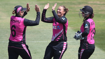 Hayley Jenson claims a wicket for New Zealand