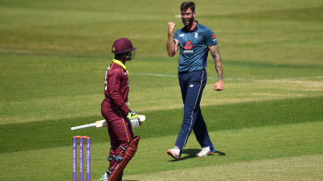 Reece Topley celebrates the wicket of Andre McCarthy