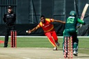 Chamu Chibhabha fields off his own bowling, Zimbabwe v Pakistan, T20I tri-series Match 1, Harare, July 1, 2018