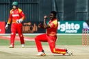 Tendai Chisoro celebrates a wicket, Zimbabwe v Pakistan, T20I tri-series Match 1, Harare, July 1, 2018