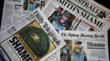 Headlines about the ball-tampering saga in newspapers across Australia