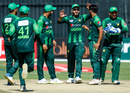 The Pakistan players celebrate a wicket, Zimbabwe v Pakistan, T20I tri-series, 1st T20I, Harare, July 1, 2018