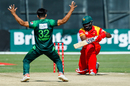 Hasan Ali celebrates the wicket of Hamilton Masakadza, Zimbabwe v Pakistan, T20I tri-series, 1st T20I, Harare, July 1, 2018