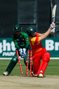 Peter Moor has his stumps shattered, Zimbabwe v Pakistan, T20I tri-series, 1st T20I, Harare, July 1, 2018