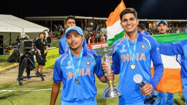 Prithvi Shaw and Shubman Gill after India's Under-19 World Cup win