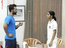 Ajinkya Rahane has a chat with India women's cricketer Jemimah Rodrigues, Mumbai, July 2, 2018