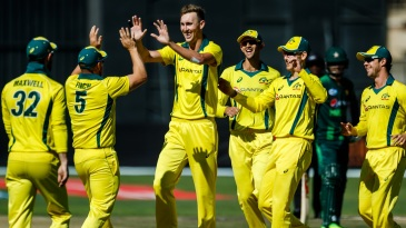 Billy Stanlake celebrates with his team-mates after a wicket