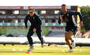 Eoin Morgan and Alex Hales do some sprints, Old Trafford, July, 2018