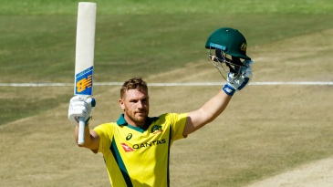 Aaron Finch celebrates his second T20I hundred