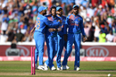 Umesh Yadav celebrates a wicket with his team-mates, England v India, 1st T20I, Manchester, July 3, 2018