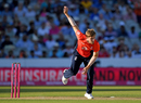 David Willey in his follow through, England v India, 1st T20I, Manchester, July 3, 2018