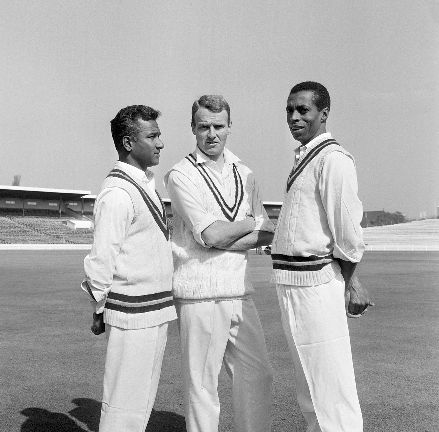 Warwickshire captain Alan Smith is flanked by West Indian imports Rohan Kanhai (left) and Lance Gibbs