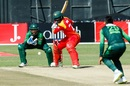 Solomon Mire shapes to cut the ball, Zimbabwe v Pakistan, Zimbabwe T20I tri-series, Harare