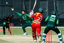 Mohammad Nawaz attempts to stop a Solomon Mire shot, Zimbabwe v Pakistan, Zimbabwe T20I tri-series, Harare, July 4, 2018