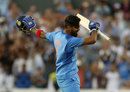 KL Rahul celebrates his hundred, England v India, 1st T20I, Manchester, July 3, 2018