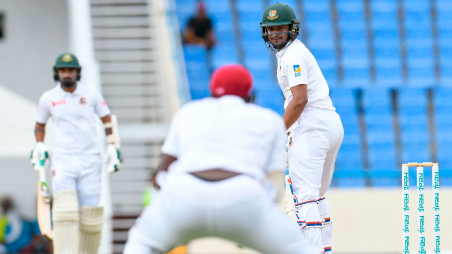 Shakib Al Hasan watches the ball fly through to the slip fielder