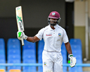 Devon Smith raises his bat after getting to his fifty, West Indies v Bangladesh, 1st Test, North Sound, 1st day, July 4, 2018